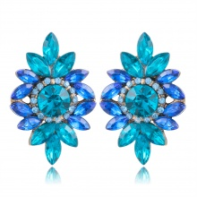 Vintage Crystal Leaf Stud Earrings for Women