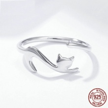 925 Sterling Silver Sticky Cat Adjustable Ring For Women