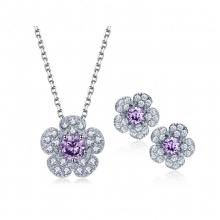 Small Flower Shape Necklace And Earrings Set