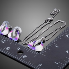 Unique Painting Pattern Crystal Stud Earrings and Pendant Set