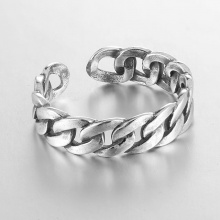 Sterling Silver Link Chain Punk Rock Metal Knuckles Ring