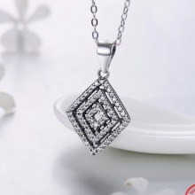Sterling Silver Spider Webs Classic Pendant Necklace