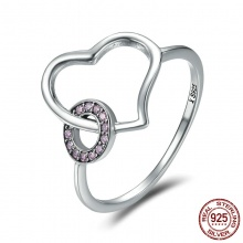 Heart Round Circle Finger Sterling Silver Ring For Women