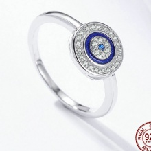 Lucky Blue Eyes Sterling Silver Ring For Women