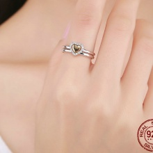 Heart Of Gold Puzzle Stack Sterling Silver Ring For Women
