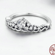Fairytale Tiara Clear CZ Sterling Silver Ring For Women