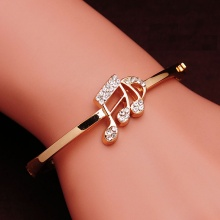 Rose Gold Color Romantic Austrian Crystal Bangle For Women