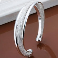 925 Stamped Silver Plated Classic Hot Sell Bangle Bracelet