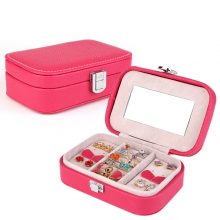 High Quality Leather Portable Princess Jewelry Box