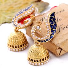 Blue Peacock Golden Pearl Drop Earrings For Women