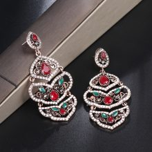 Kinel Unique Indian Jewelry Super Big Drop Earrings For Women Vintage Gold Red Crystal Wedding Fold Earrings Bohemian Jewelry