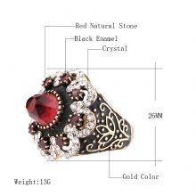 Hot Luxury Big Natural Stone Ring Vintage Crystal Antique Rings For Women Gold Color Party Christmas Gift Red Turkish Jewelry