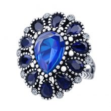 Fashion Blue Crystal Flower Rings For Women Color Silver Vintage Big Wedding Ring Bohemia Jewelry