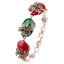Vintage Charm Gold Flowers Love Colorful Bracelet Jewelry