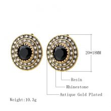 Hot 2017 Fashion Big Crystal Earrings For Women Color Gold Round Black Indian Jewelry Wedding Party Gift