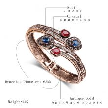 Kinel Vintage Blue Branch Flower Bangles Red Water Drop Resin Women Lady Bangle Bracelet Hand Crystal Turkish Jewelry Gifts