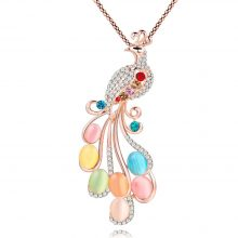 Bonsny Peacock Necklace Long Pendant  Brand Crystal Chain New 2017 Zinc Alloy Girl Women Fashion Jewelry Statement Accessories