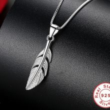 ELESHE  925 Sterling Silver Feather Necklace For Women Necklaces Pendants Fashion Chain Necklace Women Accessories Jewelry