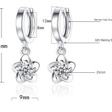 XIYANIKE 925 Sterling Silver Plum Blossom Peony Flower Stud Earrings For Women  Fashion Sterling-silver-jewelry Brinco VES6193