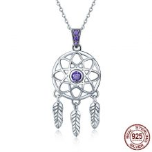 BAMOER Genuine 925 Sterling Silver Vintage Dream Catcher Necklaces Pendants for Women Fashion Necklace Silver Jewelry SCN279