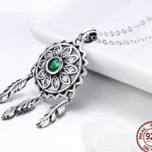 BAMOER New Trendy Real 925 Sterling Silver Dream Catcher Holder Pendant Necklaces Women Fashion Sterling Silver Jewelry SCN263
