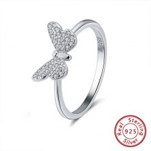 ORSA JEWELS Genuine 925 Sterling Silver Women Rings Cute Butterfly Silver&Gold Color AAA Cubic Zircon Fashion Ring Jewelry SR59