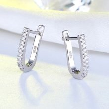 ORSA JEWELS Real 925 Sterling Silver Women Hoop Earrings Small Circle 12 MM Silver Color Trendy Female Wedding Jewelry SE118