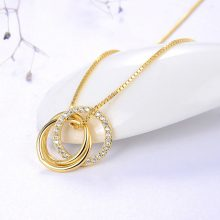 ORSA JEWELS Pure 925 Sterling Silver Pendant Necklace Women Clear AAAA Zircon Combine Circle Fashion Party Gift Jewelry SN175