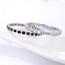 ORSA JEWELS Genuine 925 Silver Stacking Rings Women Full Circle AAAA Zircon Ring Finger Rings Wedding Engagement Jewelry SR145
