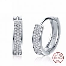 ORSA JEWELS Real 925 Sterling Silver Women Hoop Earrings Small Circle AAA Shiny CZ Female Wedding Engagement Jewelry SE60