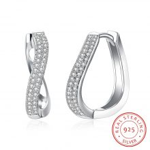 Classic Style Silver Color Jewelry Curved Hoop Earrings with Zircon for Women Anniversary Jewelry Mother's Day Gift