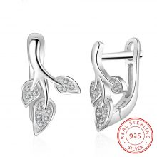 925 Sterling Silver Hoop Earrings Fashion korean Leaf Earrings CZ Stone Earrings Fine Jewelry Wedding Women Gifts (Lam Hub Fong)