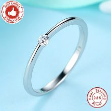 BELAWANG New Fashion 925 Sterling Silver Round Rings with Sparking CZ Crystal Finger Ring For Women Engagement Silver Jewelry