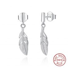 BELAWANG 100% 925 Sterling Silver Feather Jewelry Sets With Stud Earrings & Pendant Necklace Elegant Jewelry Gift for Women