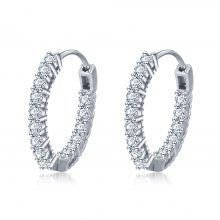 Trendy 925 Sterling Silver Hoop Earrings for Women Sparkling Cubic Zirconia Wedding Jewelry Gift for Girl (JewelOra EA101739)