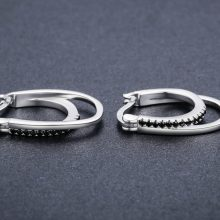 3.8g 925 Sterling Silver Row Round Black Spinel Trendy Engagement Hoop Earrings for Women Fine Jewelry Bijoux I004