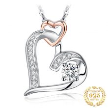 JPalace Infinity Heart Pendant Necklace 925 Sterling Silver Choker Statement Necklace Women Silver 925 Jewelry Without Chain