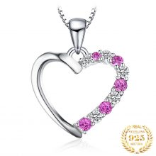 Jpalace Created Pink Sapphire Pendant Necklace 925 Sterling Silver Gemstones Choker Statement Necklace Women Without Chain