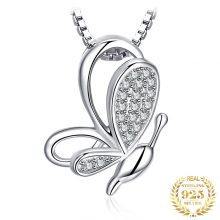 JPalace Butterfly Silver Pendant Necklace 925 Sterling Silver Choker Statement Necklace Women Silver 925 Jewelry Without Chain