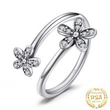 JewelryPalace Flower Cubic Zirconia Ring 925 Sterling Silver Rings for Women Stackable Ring Band Silver 925 Jewelry Fine Jewelry