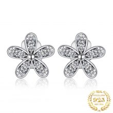 JewelryPalace Flower Cubic Zirconia Stud Earrings 925 Sterling Silver Earrings for Women Girls Korean Earrings Fashion Jewelry