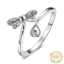 JewelryPalace Dragonfly Cubic Zirconia Rings 925 Sterling Silver Rings for Women Stackable Ring Silver 925 Jewelry Fine Jewelry
