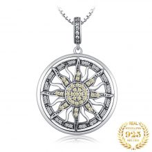 JewelryPalace Celestial Sun 925 Sterling Silver Cubic Zirconia Charm Statement Pendant Necklace Women Jewelry Without a Chain