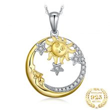 JPalace Moon Sun Silver Pendant Necklace 925 Sterling Silver Choker Statement Necklace Women Silver 925 Jewelry Without Chain