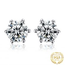 JewelryPalace Genuine White Topaz Stud Earrings 925 Sterling Silver Earrings for Women Gemstones Korean Earings Fashion Jewelry