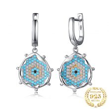 JewelryPalace Simulated Turquoise Dangle Drop Earrings 925 Sterling Silver Earrings for Women Gemstone Earrings Fashion Jewelry