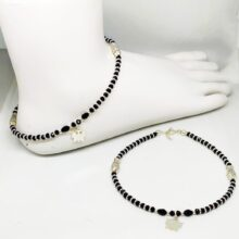 All Silver Hanging Charm Anklet Pair